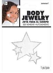 Glitter Jewelery Body White Stars.