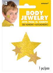 Glitter Jewelery Body Yellow Stars.