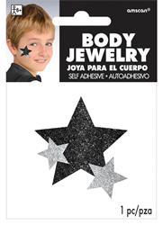 Glitter Jewelery Body Black Stars.