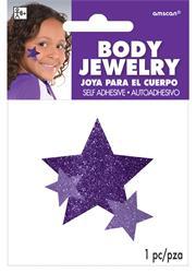 Glitter Jewelery Body Purple Stars.