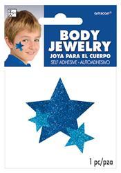Glitter Jewelery Body Blue Stars.