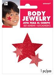 Glitter Jewelery Body Red Stars.
