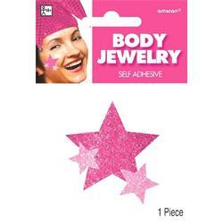 Glitter Jewelery Body Pink Star