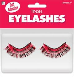 Tinsel Eyelashes Red