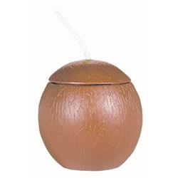 Coconut Shaped Cup with Straw 18oz