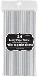 Solid Paper Straws Silver 19.7cm