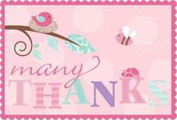 Tweet Baby Girl Thank You with Sticker Seals