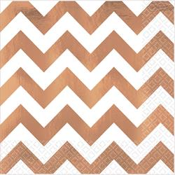 Lunch Napkins Chevron Rose Gold Hot-stamped