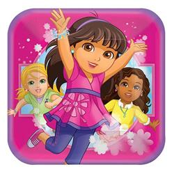 Dora and Friends 23cm Square Plates Pack 8