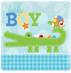 Ahoy Baby Boy 17.7cm Plate Square