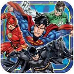 Justice League Square Plates 23cm Pack 8