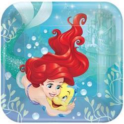 Dream Big Ariel - Little Mermaid Square Plates Pack 8