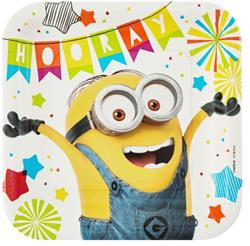 Despicable Me Minion Made Square Plates 23cm pack of 8