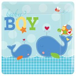 Ahoy Baby Boy 25cm Plate Square