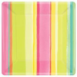 Sunny Stripe Pink Square plate 25cm