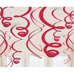 Swirl Decoration Plastic Red