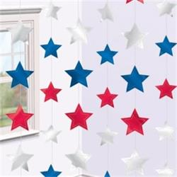 Red White and Blue Stars String Decoration