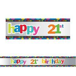 Banner 2.7m Holographic Happy 21st Birthday