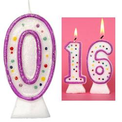 Candle Glitter Polka Dot 8cm Pink Age 0