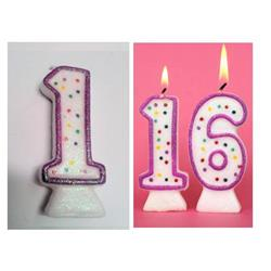 Candle Glitter Polka Dot 8cm Pink Age 1