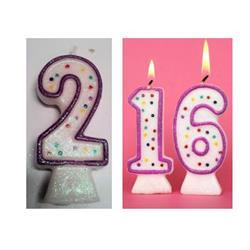 Candle Glitter Polka Dot 8cm Pink Age 2