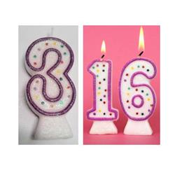 Candle Glitter Polka Dot 8cm Pink Age 3