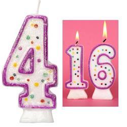 Candle Glitter Polka Dot 8cm Pink Age 4