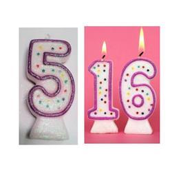 Candle Glitter Polka Dot 8cm Pink Age 5