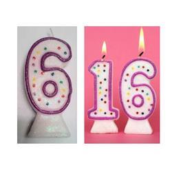 Candle Glitter Polka Dot 8cm Pink Age 6