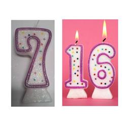 Candle Glitter Polka Dot 8cm Pink Age 7
