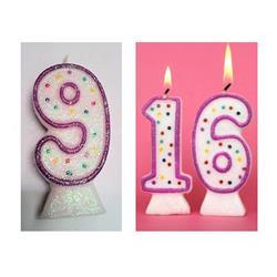 Candle Glitter Polka Dot 8cm Pink Age 9