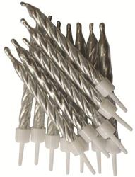 Candles 7.5cm Metallic Silver with Holders