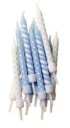 Candles 7.5cm Blue Polka Dot and Candy Cane Stripe with Holders