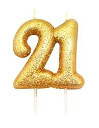 Candle Gold Glitter Numeral Age 21 - 7cm tall