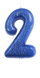 Candle Blue Glitter Numeral 2 - 7cm tall