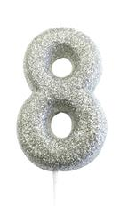 Candle Silver Glitter Numeral 8 - 7cm tall