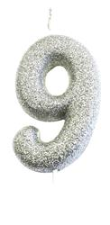Candle Silver Glitter Numeral 9 - 7cm tall