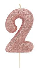 Candle Rose Gold Glitter Numeral 2 - 7cm tall