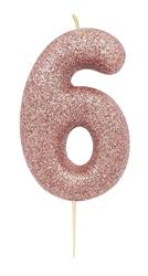 Candle Rose Gold Glitter Numeral 6 - 7cm tall
