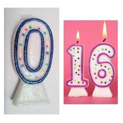 Candle Glitter Polka Dot 8cm Blue Age 0