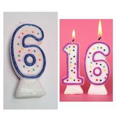 Candle Glitter Polka Dot 8cm Blue Age 6