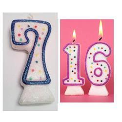 Candle Glitter Polka Dot 8cm Blue Age 7