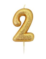Candle Gold Glitter Numeral 2 - 7cm tall
