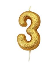Candle Gold Glitter Numeral 3 - 7cm tall