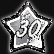 30th Birthday Black and Silver Star 45cm