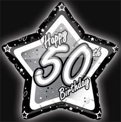 50th Birthday Black and Silver Star 45cm