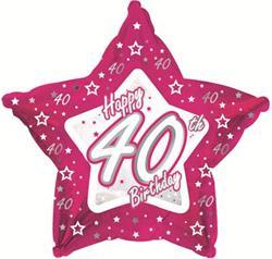 40th Birthday Pink Star 45cm