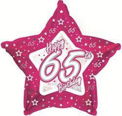 65th Birthday Pink Star 45cm