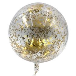 Bobo Balloon Balls Crystal Clear  pre-filled with 5gr small Gold confett40cm Hang Sell Packaging