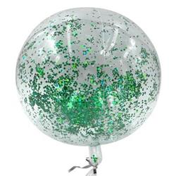 Bobo Balloon Balls Crystal Clear  pre-filled with 5gr small Green confetti. 40 cm Hang Sell Packaging